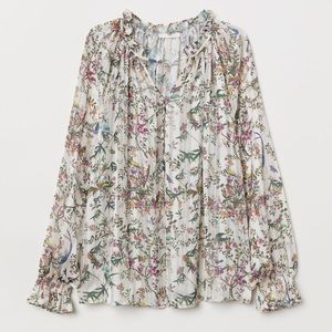 H&M smocked blouse with birds.